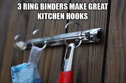 Снимите с папки планку с кольцами и привинтите ее к стенке/двери на кухне или в ванной и используйте открытые кольца, как крючки