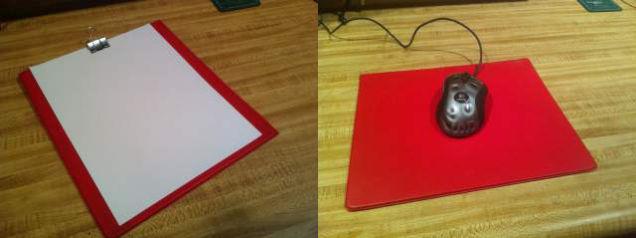 используйте часть папки как планшет или жесткий коврик для мыши