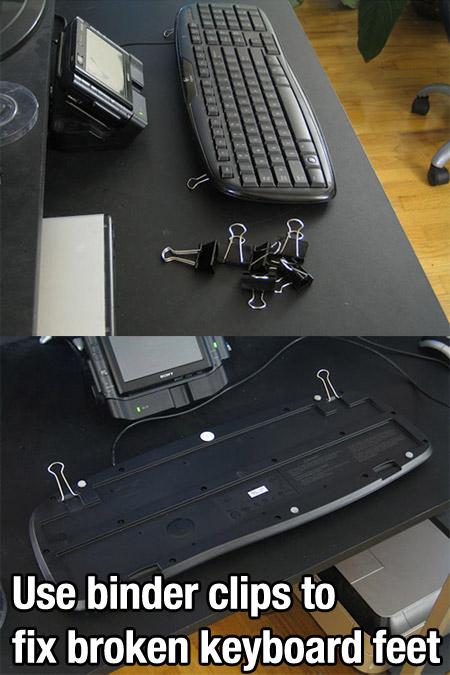 зажимы для бумаги в качестве ножек для клавиатуры - чтобы приподнять