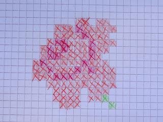 Нарисуйте эскиз для вышивания на бумаге в клетку