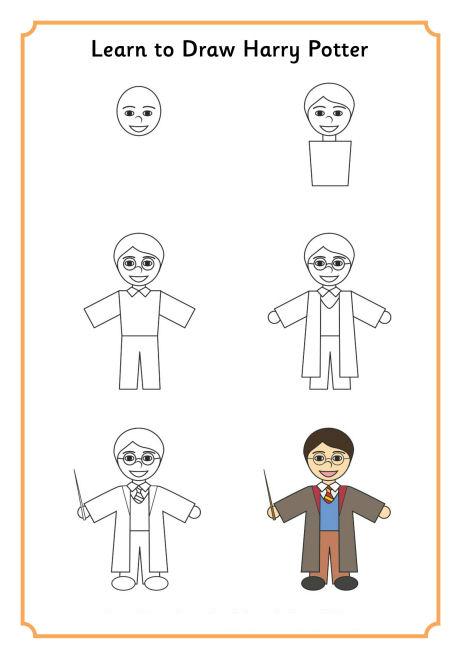 пошаговое рисованию определенных фигурок: Гарри Поттер