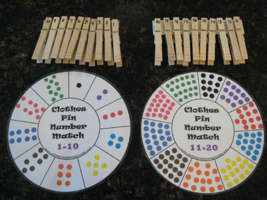Обучающие игры с прищепками: сопоставить числа на круге