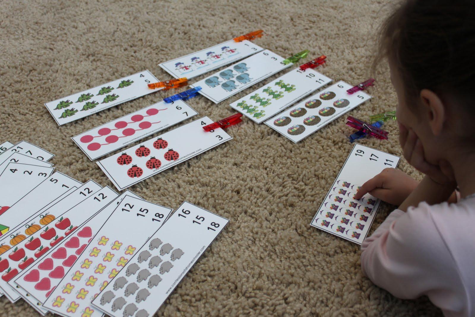 Обучающие игры с прищепками: посчитать и выбрать правильный ответ