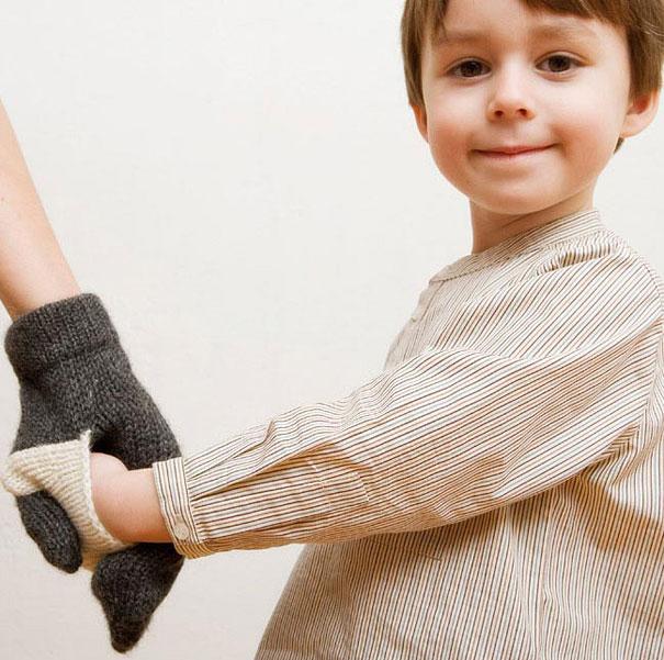креативные варежки и перчатки для взрослых и детей: двойные варежки для мамы и ребенка