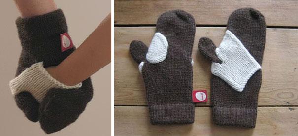 варежка, чтобы мама легко могла держать ребенка за руку на улице в мороз