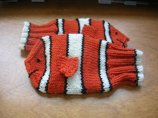 креативные варежки и перчатки для взрослых и детей: рыбка из одноименного мультфильма Немо