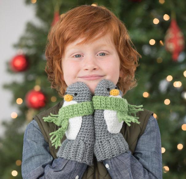 креативные варежки и перчатки для взрослых и детей: пингвины