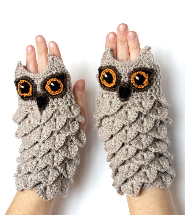 креативные варежки и перчатки для взрослых и детей: варежки в виде сов с открытыми пальцами