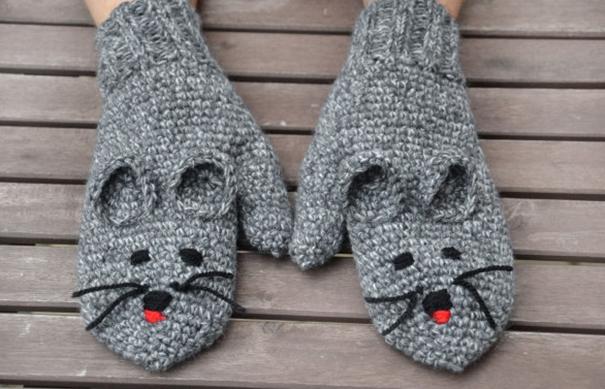 креативные варежки и перчатки для взрослых и детей: варежки-мыши
