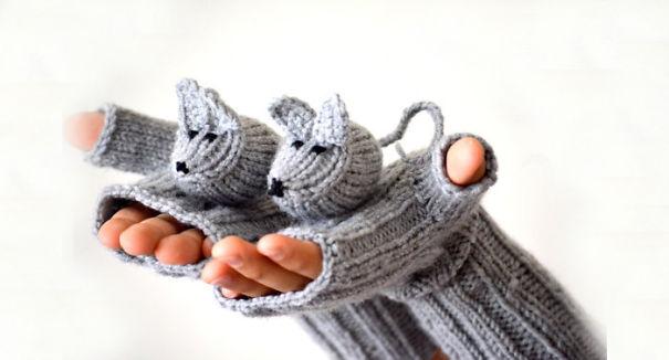 креативные варежки и перчатки для взрослых и детей: полуварежки с фигурками мышей
