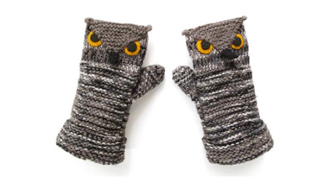 креативные варежки и перчатки для взрослых и детей: варежки-совы