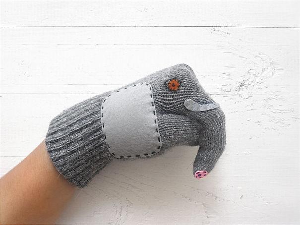 креативные варежки и перчатки для взрослых и детей: перчатки-слоны