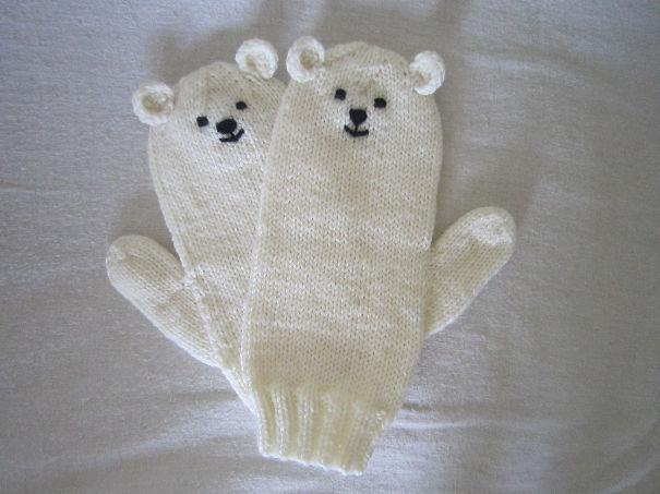 креативные варежки и перчатки для взрослых и детей: варежки белые мишки