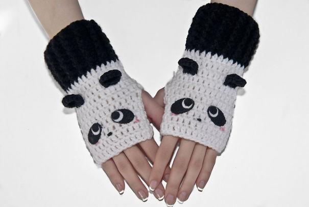 креативные варежки и перчатки для взрослых и детей: полуперчатки панды