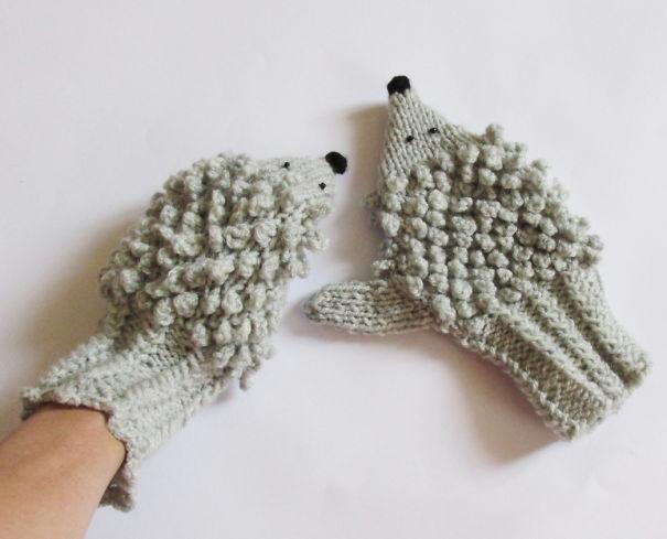 креативные варежки и перчатки для взрослых и детей: варежки-ежи