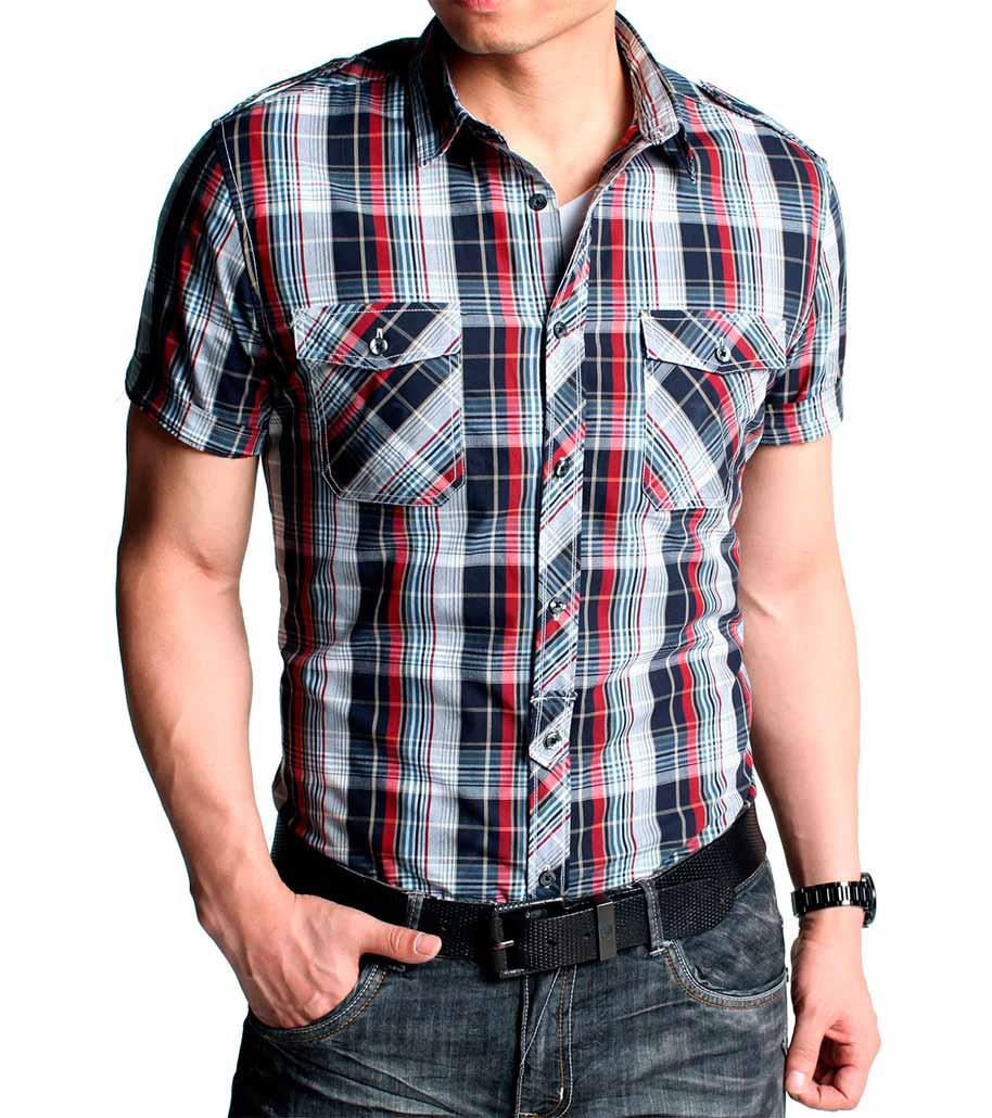 как выбрать модную мужскую рубашку: неровная и контрастная клетка в сотечании с наклонной клеткой на карманах