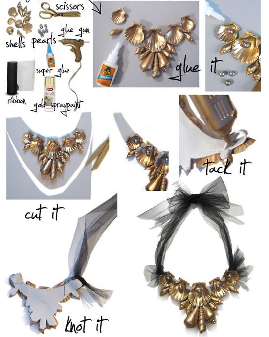 Черно-золотое колье с ракушками: украшения Haute Couture из подручных средств своими руками