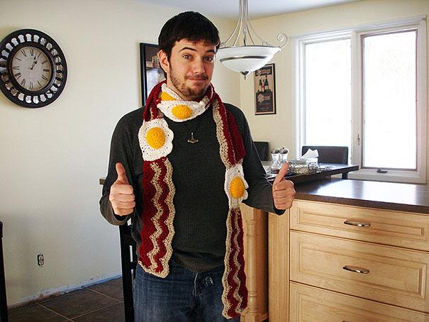 оригинальные зимние шарфы - мужской шарф для больших любителей бекона с яичницей