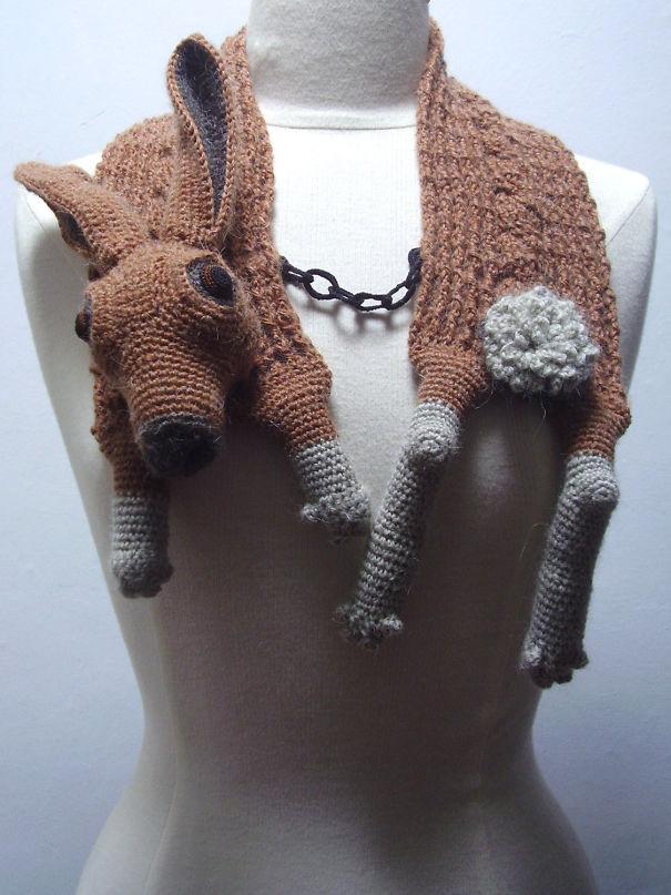 оригинальные вязаные шарфы - жуткий шарф из зайца-русака