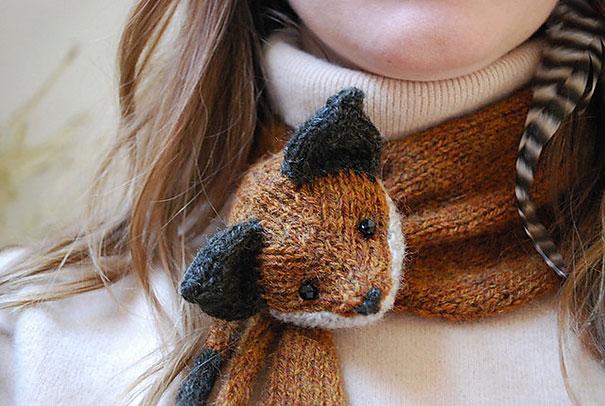оригинальные зимние шарфы - с мордочкой лисицы