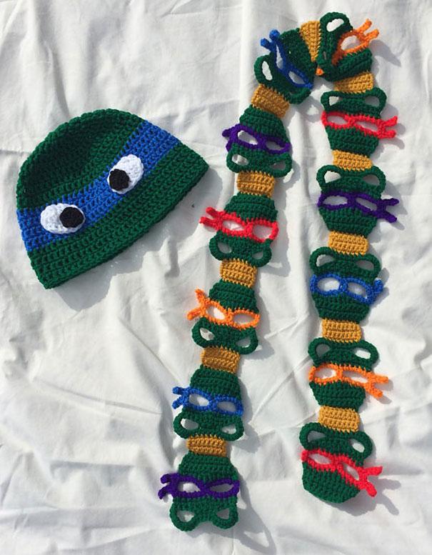 оригинальные самодельные вязаные шарфы - черепахни-ниндзя