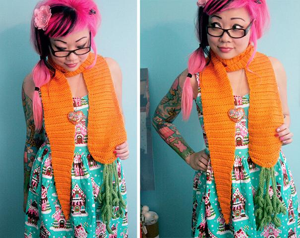 оригинальные самодельные вязаные шарфы - шарф-морковка