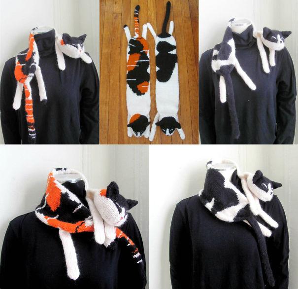 оригинальные зимние шарфы - шарфы-коты