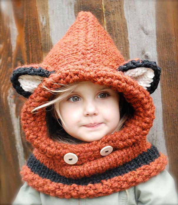 потрясающий детский шарф-труба-капюшон в виде головы лисы