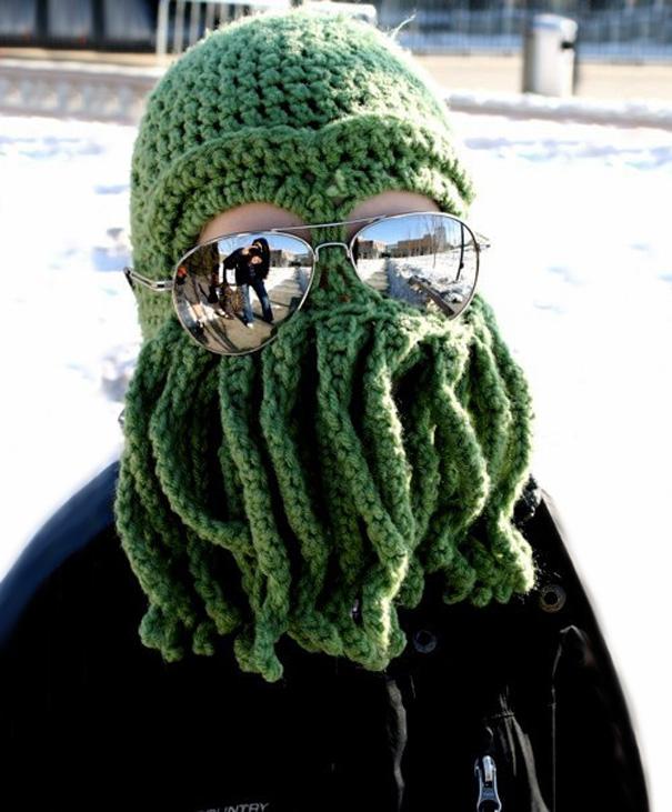 Вязаная шапка для лыж и сноубординга в виде головы Ктулху