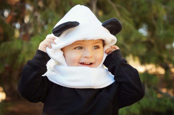 аналог из флиса – детский панда-капюшон