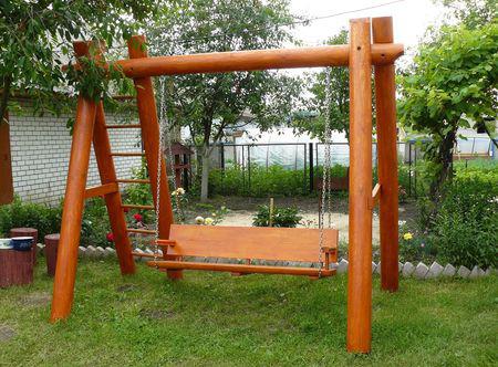 деревянная детская площадка, качели