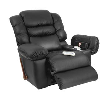 Роскошное кожаное вибро-кресло с откидывающейся спинкой, подпоркой под ноги, подставками под чашку, пульт и журналы