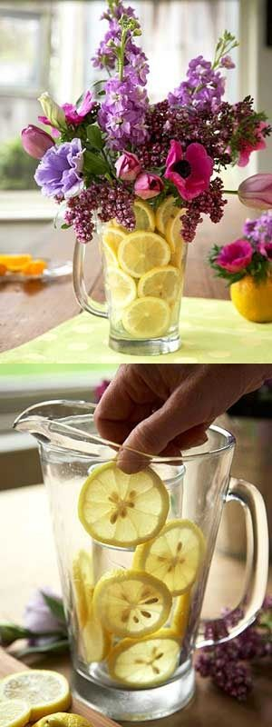 выложить графин для букета лимонными дольками