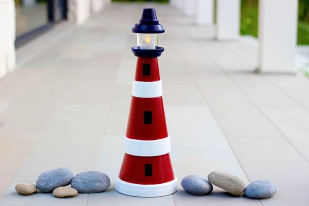 Как сделать маяк из глиняных горшков для сада/дачи: ландшафтный дизайн