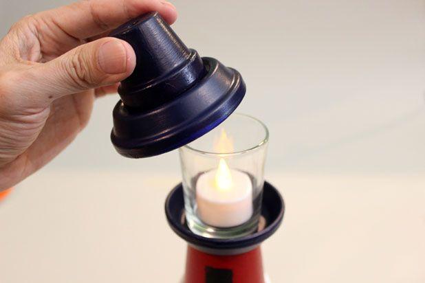 собираем маяк полностью - с искусственной свечой внутри