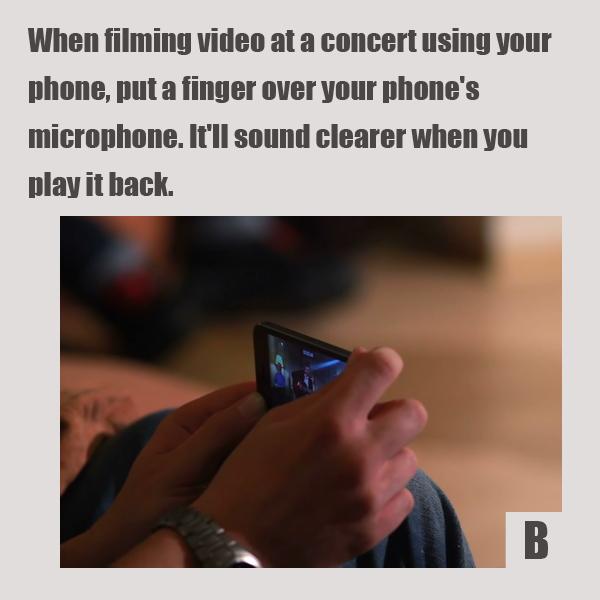 Как выглядят 10+ лайфхаков для мобильных телефонов и смартфонов. Поставьте палец над микрофоном – не зажимайте микрофон, а просто положите туда палец. Звук потом окажется четче – проверьте.