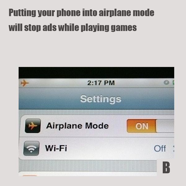 Если поставить телефон опять в режим «В самолете», это остановит появление на экране рекламных баннеров во время игр
