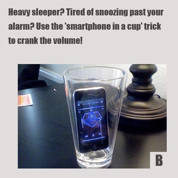 Просыпаетесь с трудом? Перед сном выставьте будильник, звук в смартфоне на максимум, а сам телефон опустите в глубокий чистый и сухой бокал