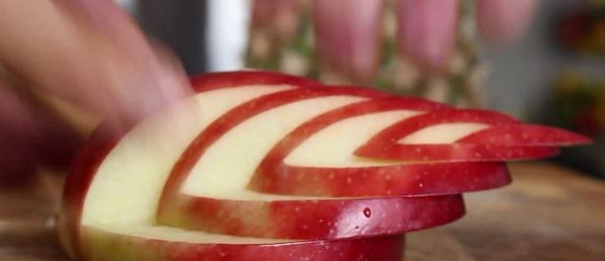 со сдвигом назад сложите вместе все вырезанные прямоугольные детали (5 штук, включая первую половинку с попкой от яблока), где половинка яблока послужит основой тела лебедя