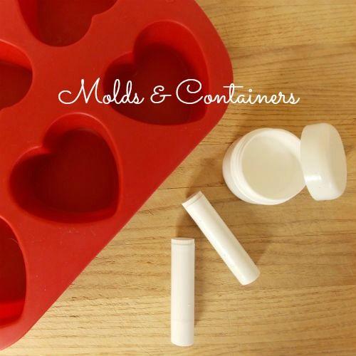 Ингредиенты для приготовления оттеночного бальзама для губ и лосьона для тела - формочка для льда и баночки/тубы