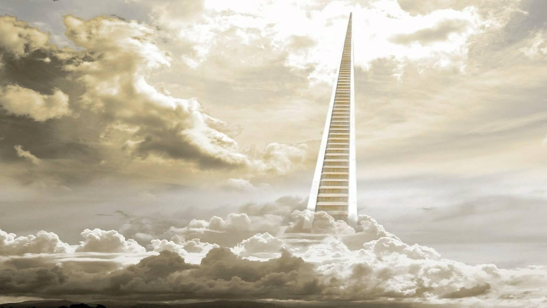 Если смотреть на текст буквально, лестница в небо, казалось бы, отсылает нас к намекам на библейские аллюзии, на реальную лестницу, восходящую к Небесам