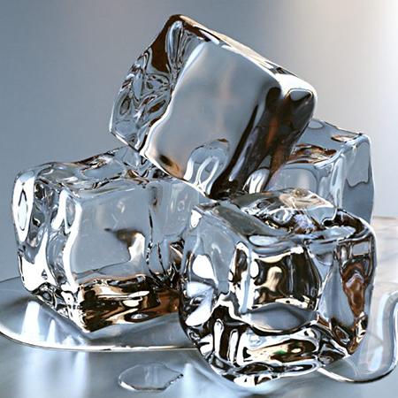 Положите лед в чашу из нержавеющей стали