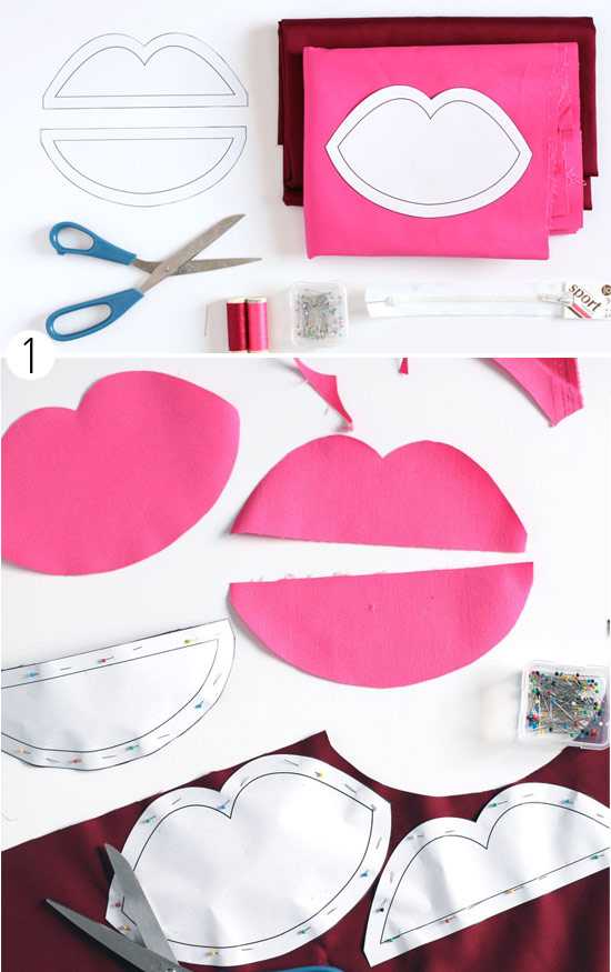 Как сшить косметичку в виде губ