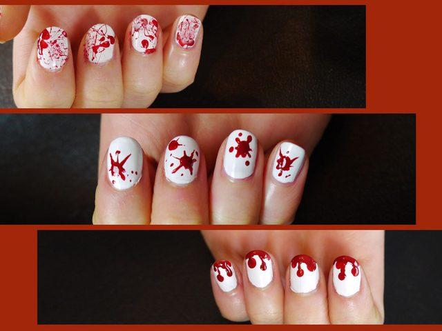 Как на Хэллоуин сделать маникюр в стиле брызг крови: 3 варианта
