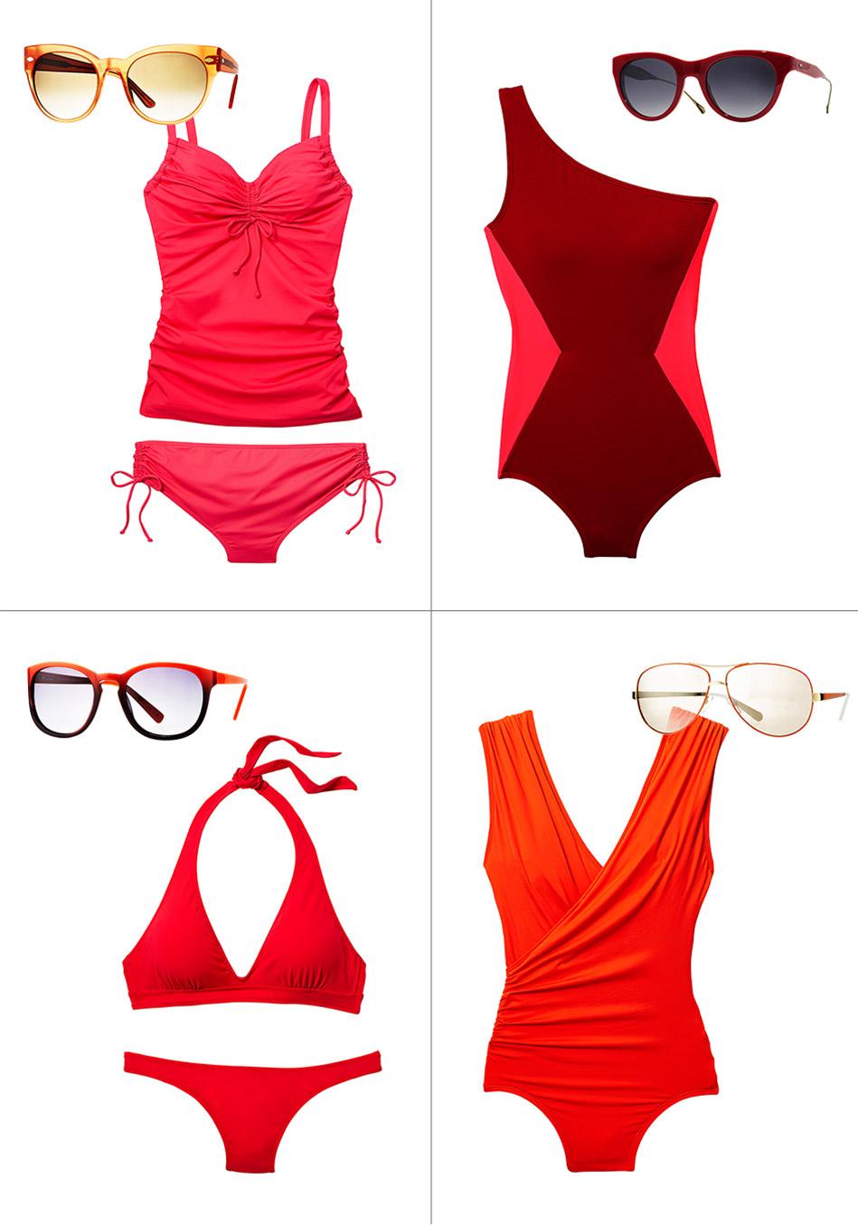 модные купальники и темные очки лето 2014: оттенки помады