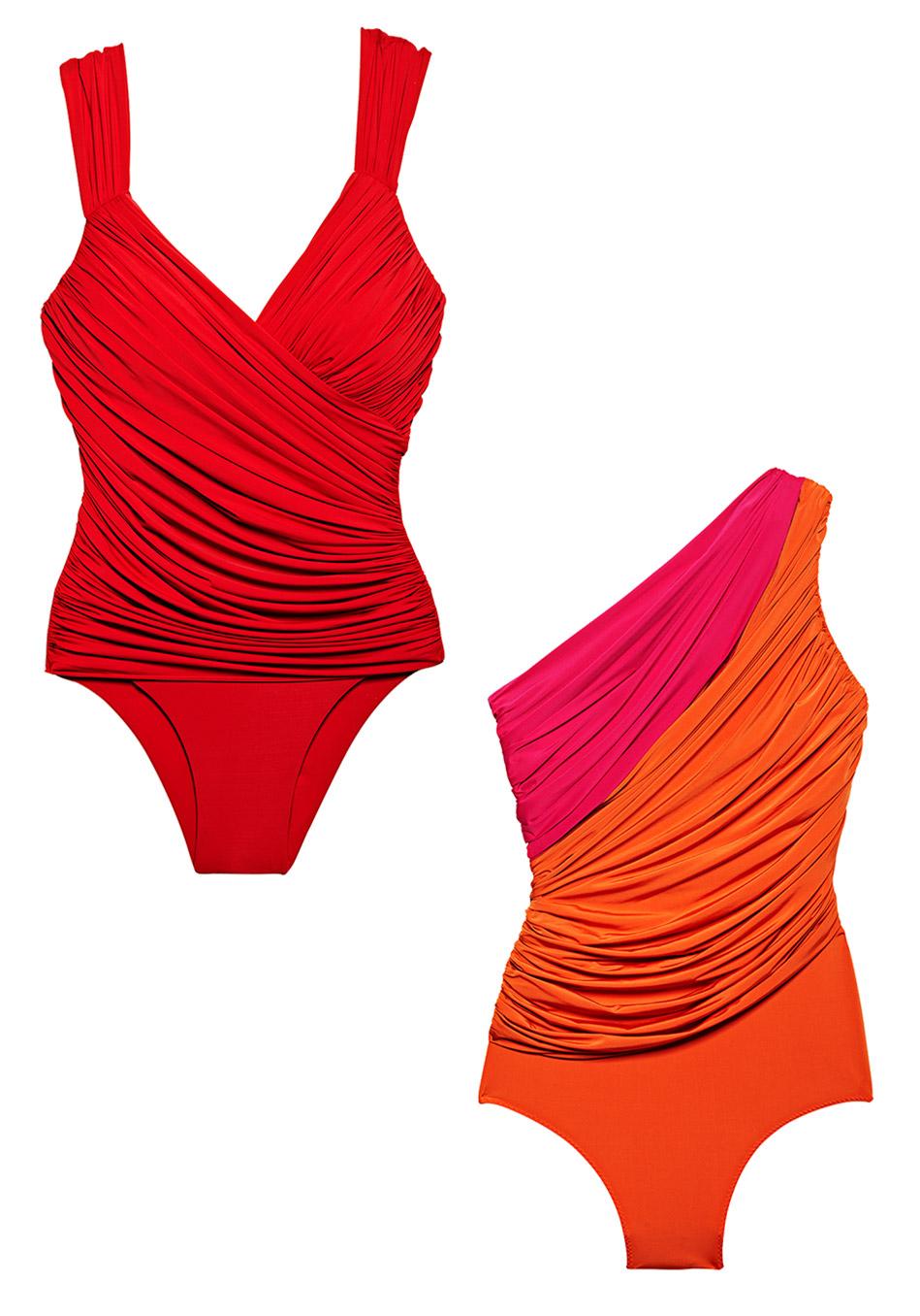 модные купальники лето 2014: драпировка, дорогие ткани, красный цвет, ручная работа