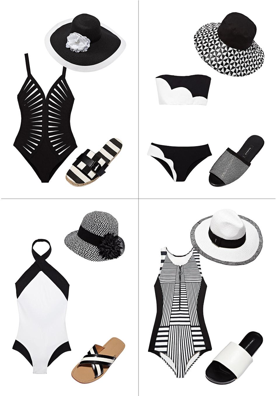 модные купальники лето 2014: графический дизайн и черно-белое, шляпки и шлепки