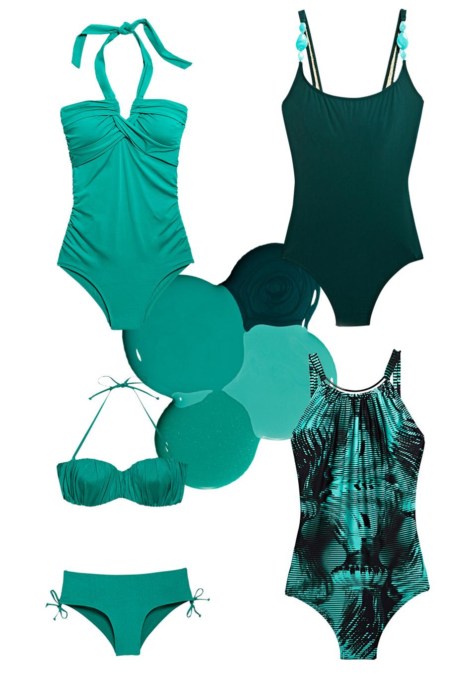 модные купальники лето 2014: зеленые тона с мосркими оттенками