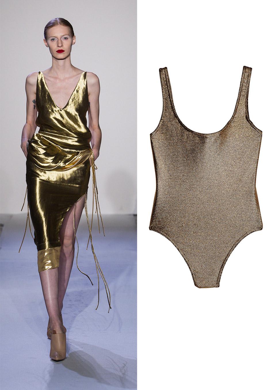 модные купальники лето 2014: оттенок металлик