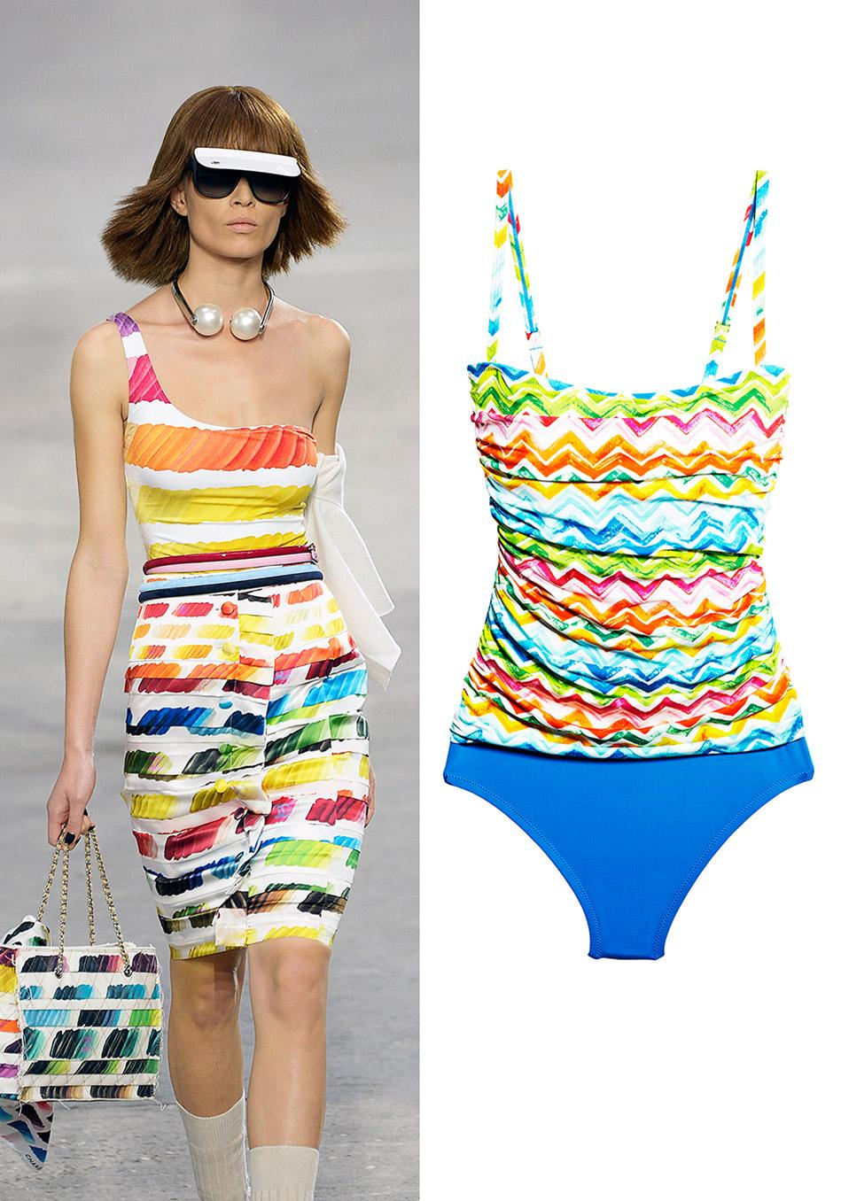 модные купальники лето 2014: драпировка и современная живопись